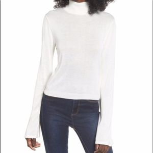 Madison & Berkeley Bell Sleeve Mock Neck Sweater